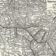 Nashville Railway Map Vintage Art Print
