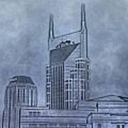 Nashville Skyline Sketch Art Print