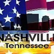 Nashville Tn Patriotic Large Cityscape Art Print