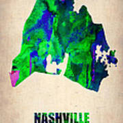 Nashville Watercolor Map Art Print