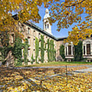 Nassau Hall With Fall Foliage Print by George Oze