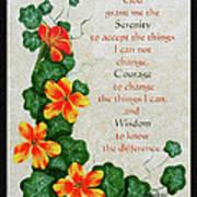 Nasturtiums And Serenity Prayer Art Print