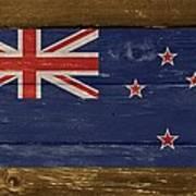 New Zealand National Flag On Wood Art Print