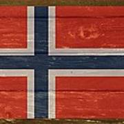 Norway National Flag On Wood Art Print
