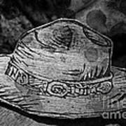 National Park Service Ranger Hat Black And White Art Print