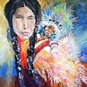Native American And Child Art Print