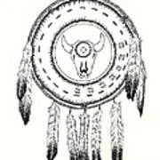 Native American Ceremonial Shield Number 2 Black And White Art Print