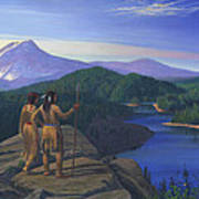 Native American Indian Maiden And Warrior Watching Bear Western Mountain Landscape Art Print