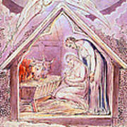 Nativity With Two Angels Art Print