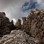 A Stunning Rock Wall Becomes A Wild Nature Sculpture In North Coast Of Minorca Europe Art Print