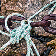 Nautical Lines And Rusty Chains Art Print