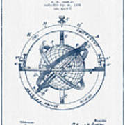 Nautical Observation Apparatus Patent From 1895  -  Blue Ink Art Print