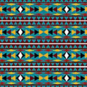 Navajo Teal Pattern Art Print