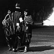 Navajo's Dance  Night Fire Rodeo Grounds Inter-tribal Indian Rodeo Gallup New Mexico 1969 Art Print