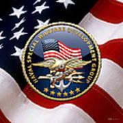 Naval Special Warfare Development Group - D E V G R U - Emblem Over U. S. Flag Art Print