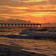 Navarre Pier At Sunrise With Waves Art Print