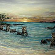 Navy Beach Seaside Sunset Art Print
