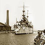 Navy Cruiser Uss New York Going Into Dry Dock San Francisco Circa 1903 Art Print