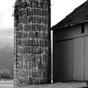 Near Infrared Old Michigan Barn With Silos Bw Usa Art Print