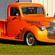 Neat Vintage Chevrolet Truck In Bright Orange Art Print