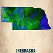 Nebraska Watercolor Map Print by Naxart Studio