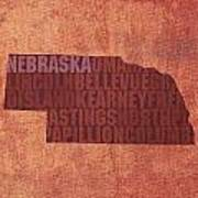 Nebraska Word Art State Map On Canvas Art Print by Design Turnpike