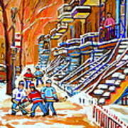 Neighborhood Street Hockey Game Last Call Time For Dinner  Montreal Winter Scene Art Carole Spandau Art Print