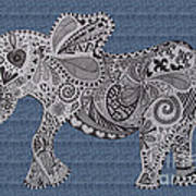 Nelly The Elephant Denim Art Print
