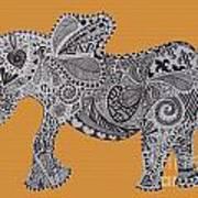 Nelly The Elephant Orange Art Print
