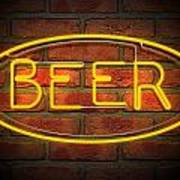 Neon Beer Sign On A Face Brick Wall Art Print