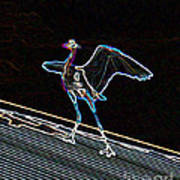 Neon Blue Heron Art Print