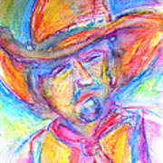 Neon Cowboy Art Print by M C Sturman