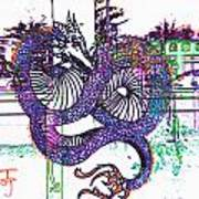 Neon Dragon In High Contrast Art Print