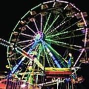 Neon Ferris Wheel Art Print