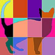 Neon Panels Cat Art Print