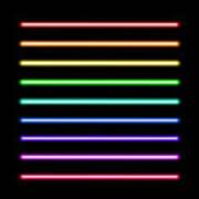 Neon Tube Light Pack Isolated On Black Art Print