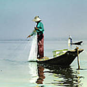 Net Fishing On Inle Lake Art Print