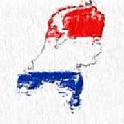 Netherlands Painted Flag Map Art Print