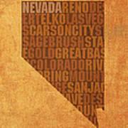 Nevada Word Art State Map On Canvas Art Print