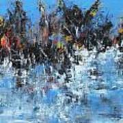 Neve In Riva A Lago Art Print