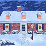 New England Christmas Art Print by Mary Helmreich