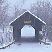 New England Covered Bridge In Winter Art Print