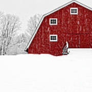 New England Red Barn In Winter Snow Storm Art Print