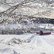 New England Winter Farms Art Print