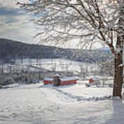 New England Winter Farms Morning Square Art Print