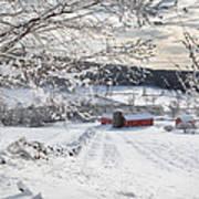 New England Winter Farms Square Art Print