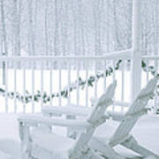 New England Winter Porch Art Print