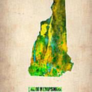 New Hampshire Watercolor Map Art Print