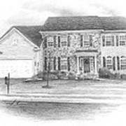 New House Pencil Portrait Art Print
