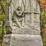 New Jersey At Gettysburg - 13th Nj Volunteer Infantry Near Culps Hill Autumn Art Print by Michael Mazaika